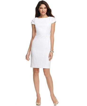 5e840b56 Calvin Klein Dress, Cap Sleeve Back Cutout Textured Sheath Web ID: 640925  found at macy's and nordstorms....this was the pick....classic, but young.  not too ...