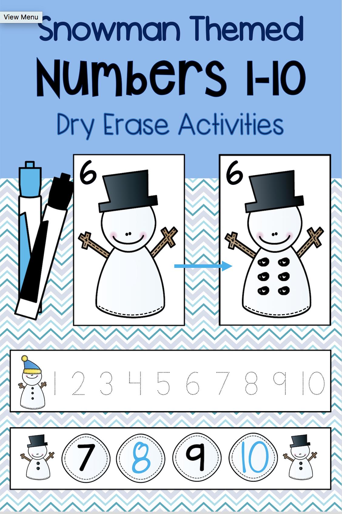 Snowman Dry Erase Activities Numbers 1 10