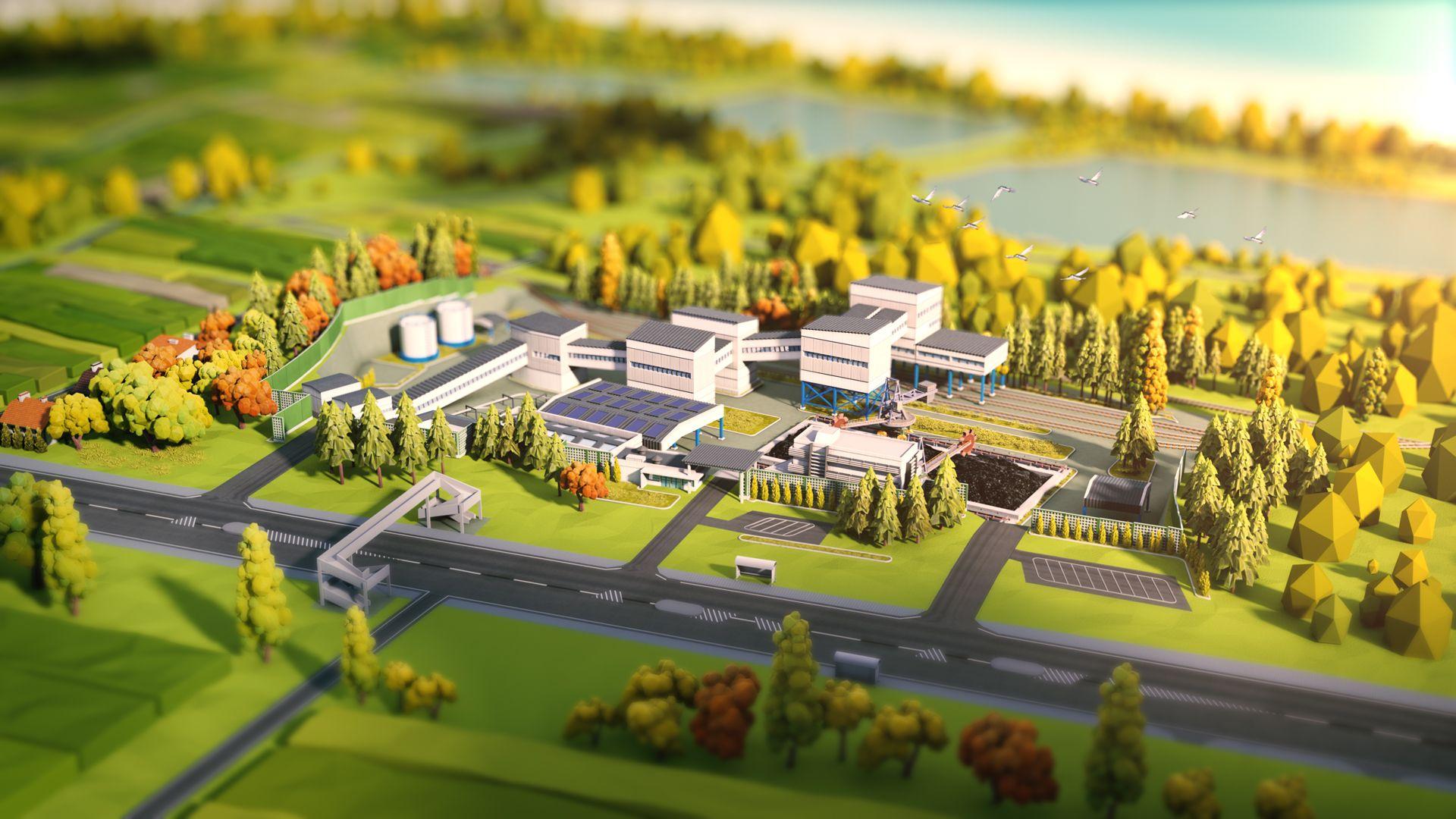 KOPEX coal mine animation Landscape scenery, Low poly