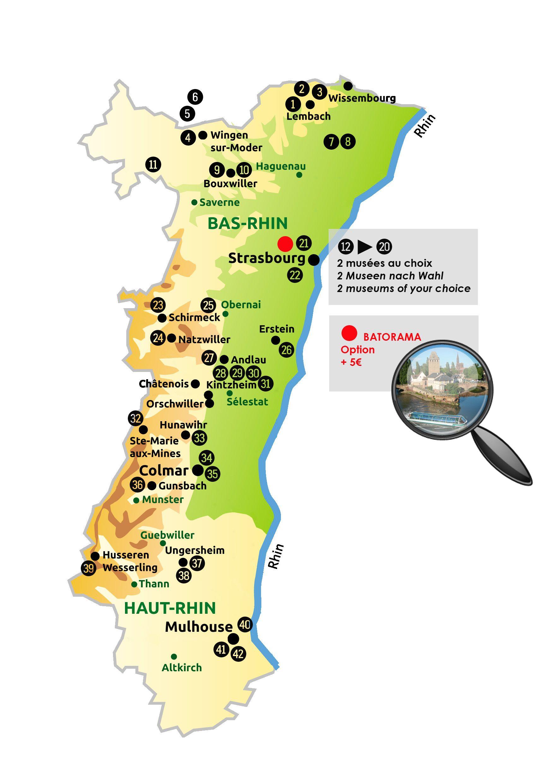 Carte Alsace Ungersheim.Carte Des Sites Partenaires Passalsace 2016 Alsace