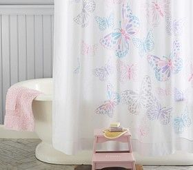 Bathroom Decor: Little Girlu0027s Pink Blue Purple Gray Butterfly Shower  Curtain From Pottery Barn Kids