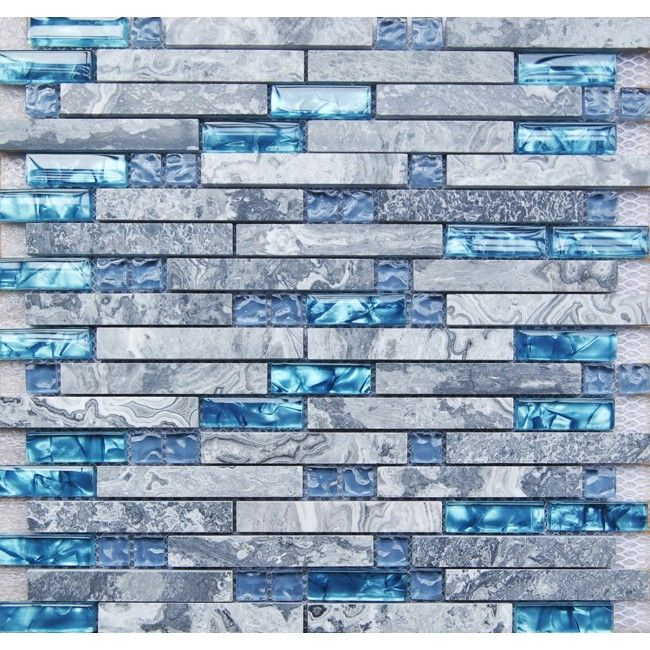 Free shipping tst nature stone glass tiles blue for Large glass wall tiles
