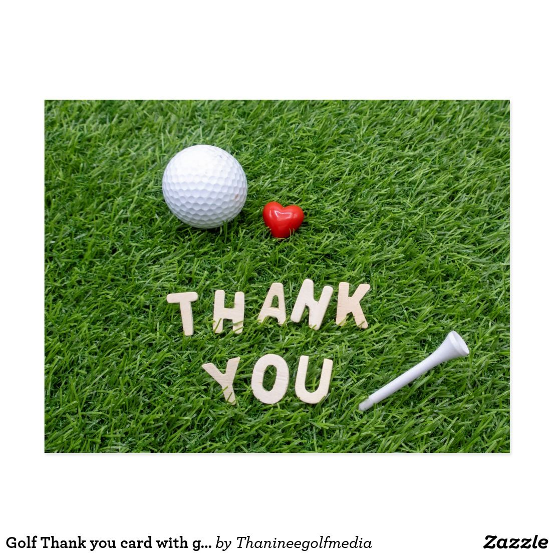 Golf Thank You Card With Golf Ball And Tee Zazzle Com Golf Birthday Cards Golf Cards Thank You Cards