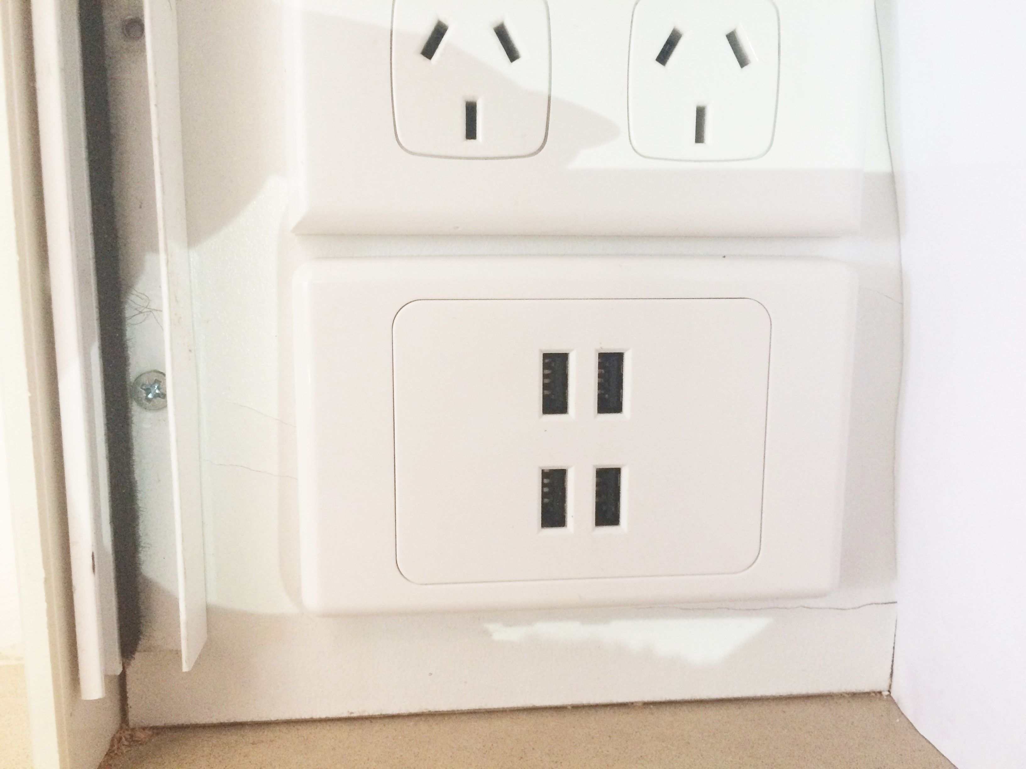 Usb Powerpoint 4 Port, Hidden In Wall Cupboard With Poweroint