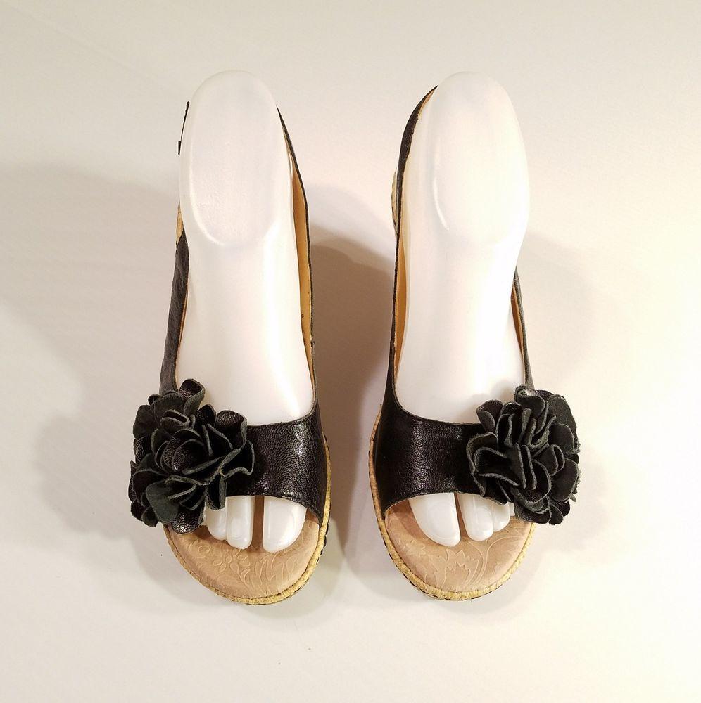 8d649c98ea73 BOC Born Concept Black Leather Flower Slingback Wedge Sandals Women s 8M 39  EU