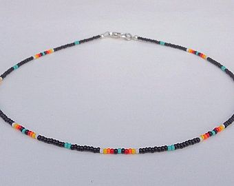 Dark Royal Blue Necklace for Men Inspired by Native American Indian Craft, Seed Bead Choker Necklace, Boho Necklace, Colorful Choker – TAKI