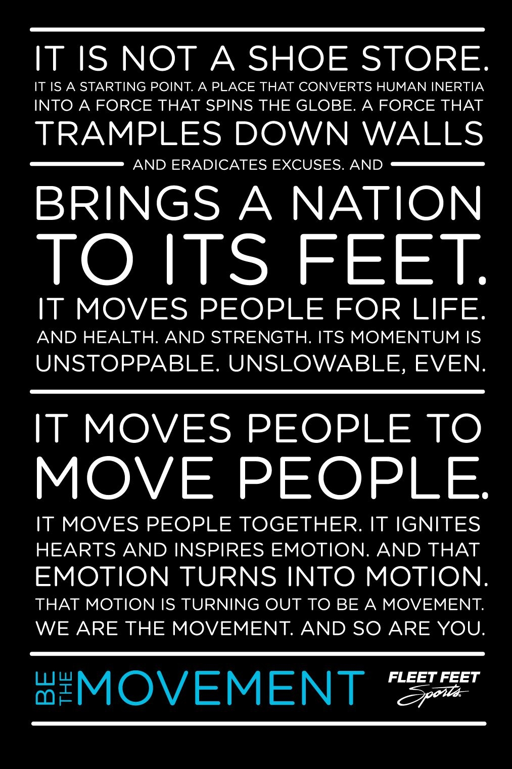 Fleet Feet Sports Manifesto Fleet feet, Fleet feet
