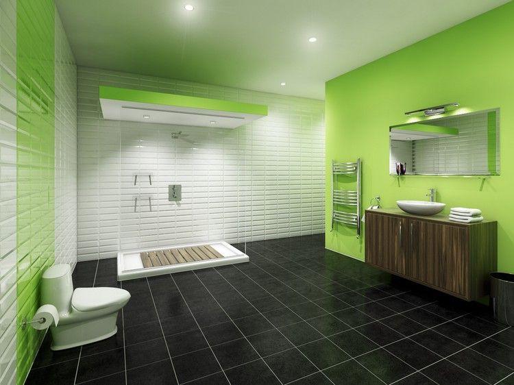 salle de bain noir et bois avec carrelage sol en noir ...