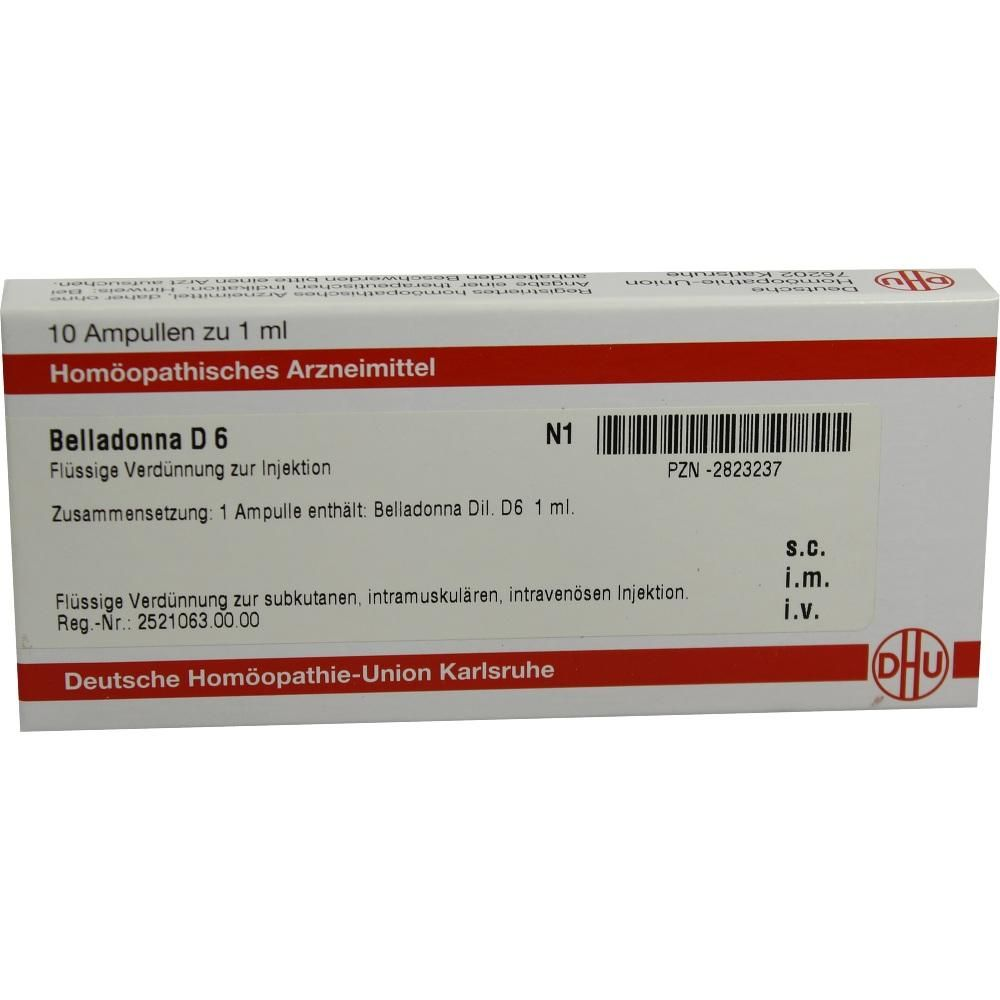 BELLADONNA D 6 Ampullen:   Packungsinhalt: 10X1 ml Ampullen PZN: 02823237 Hersteller: DHU-Arzneimittel GmbH & Co. KG Preis: 10,10 EUR…