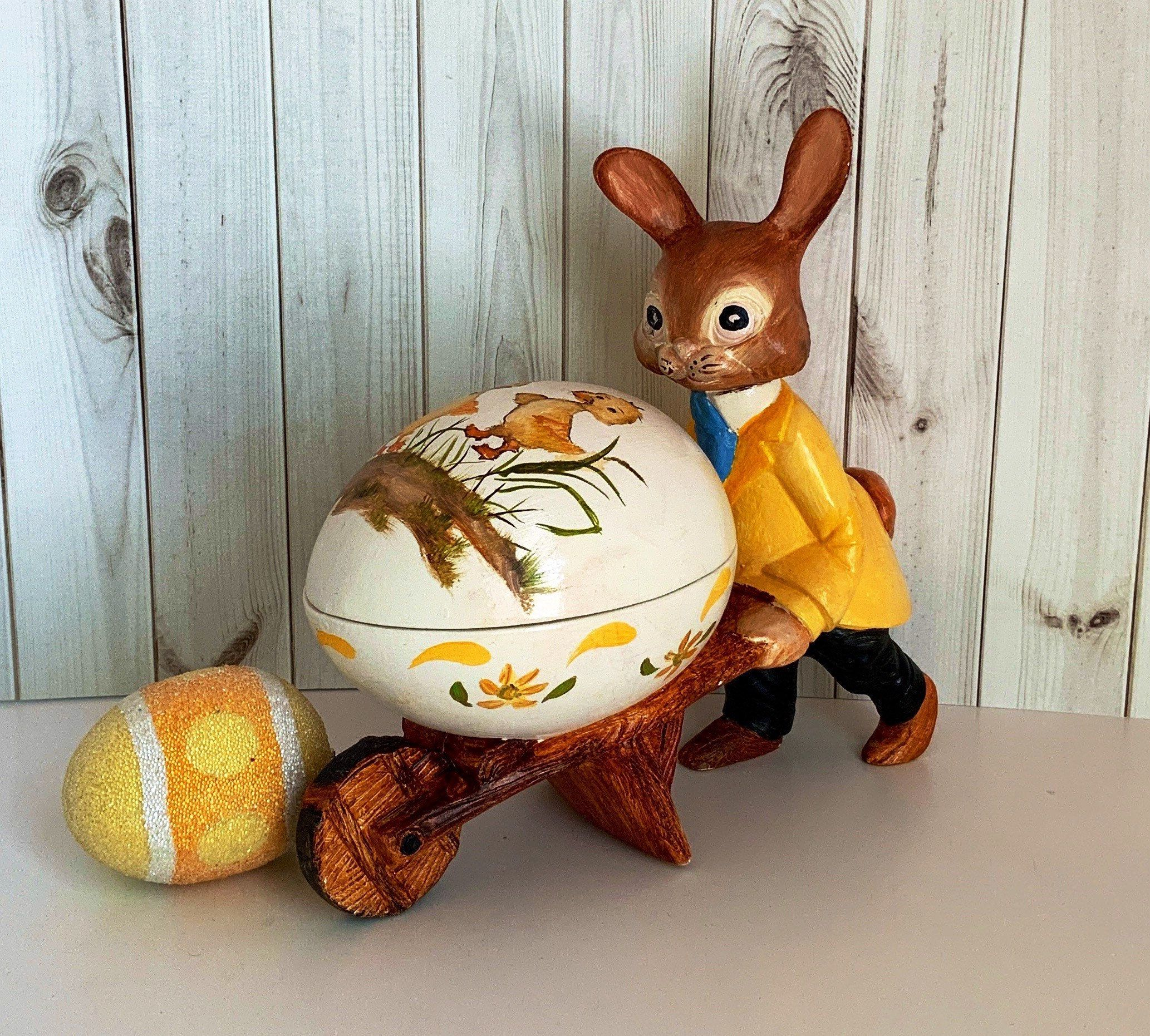 Vintage 1970s Easter Bunny Pushing Wheelbarrow Hand Painted