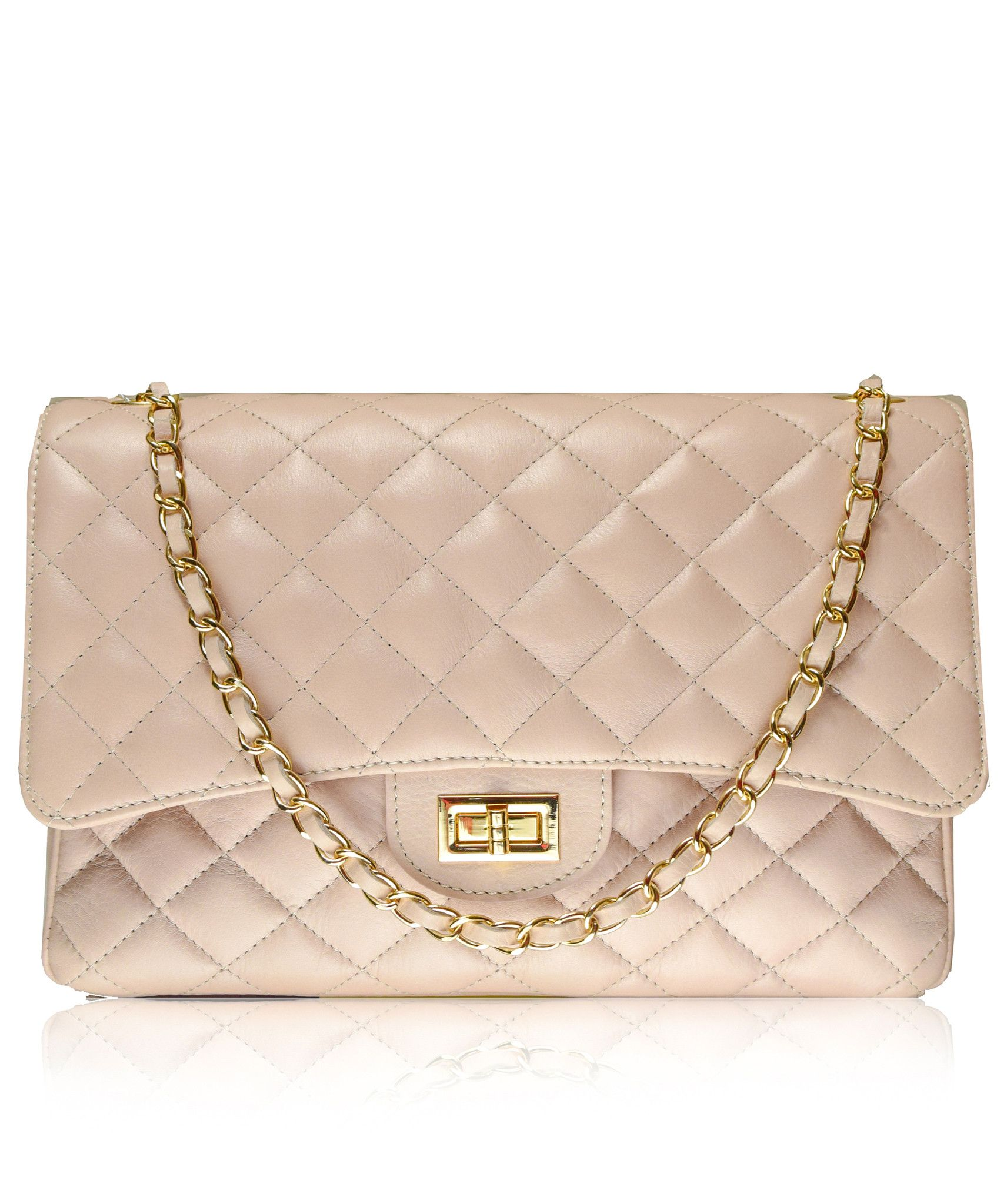 Stretto Large Pink Chanel Style Italian Quilted Leather Handbag From Florence Collection