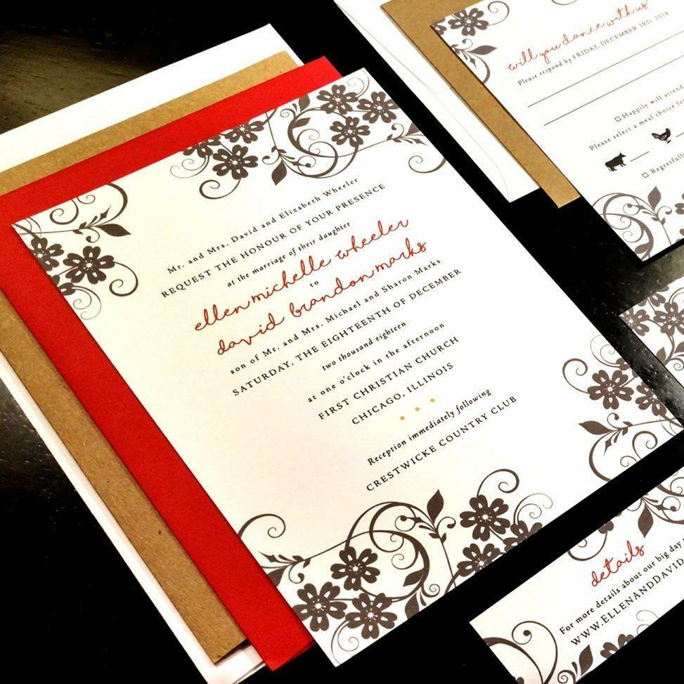Holiday Winter Flourish Damask Custom Unique Wedding Invitation ...