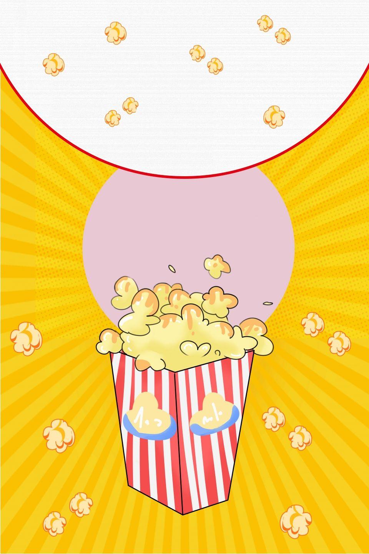 أصفر دافئ الشمس خلفية الإعلان فيلم الفشار Camper Art Hall Decor Good Movies