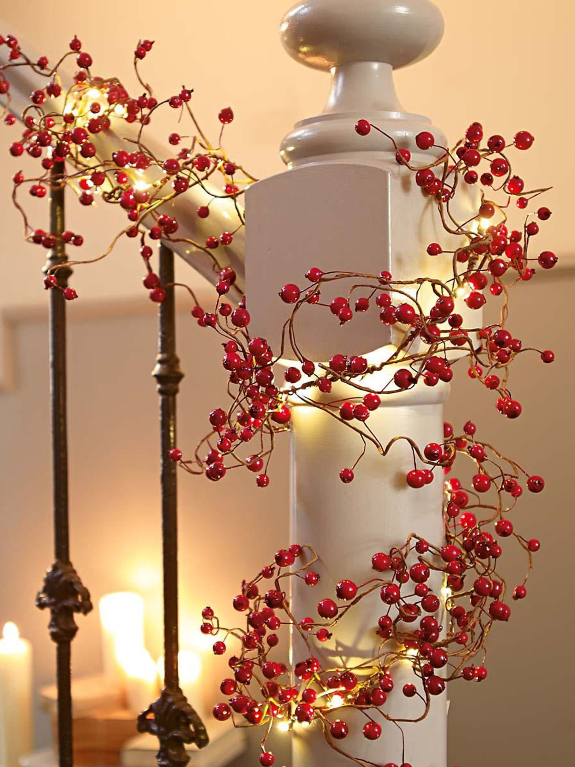 Lichterkette Girlande Rote Beeren #garlandofflowers