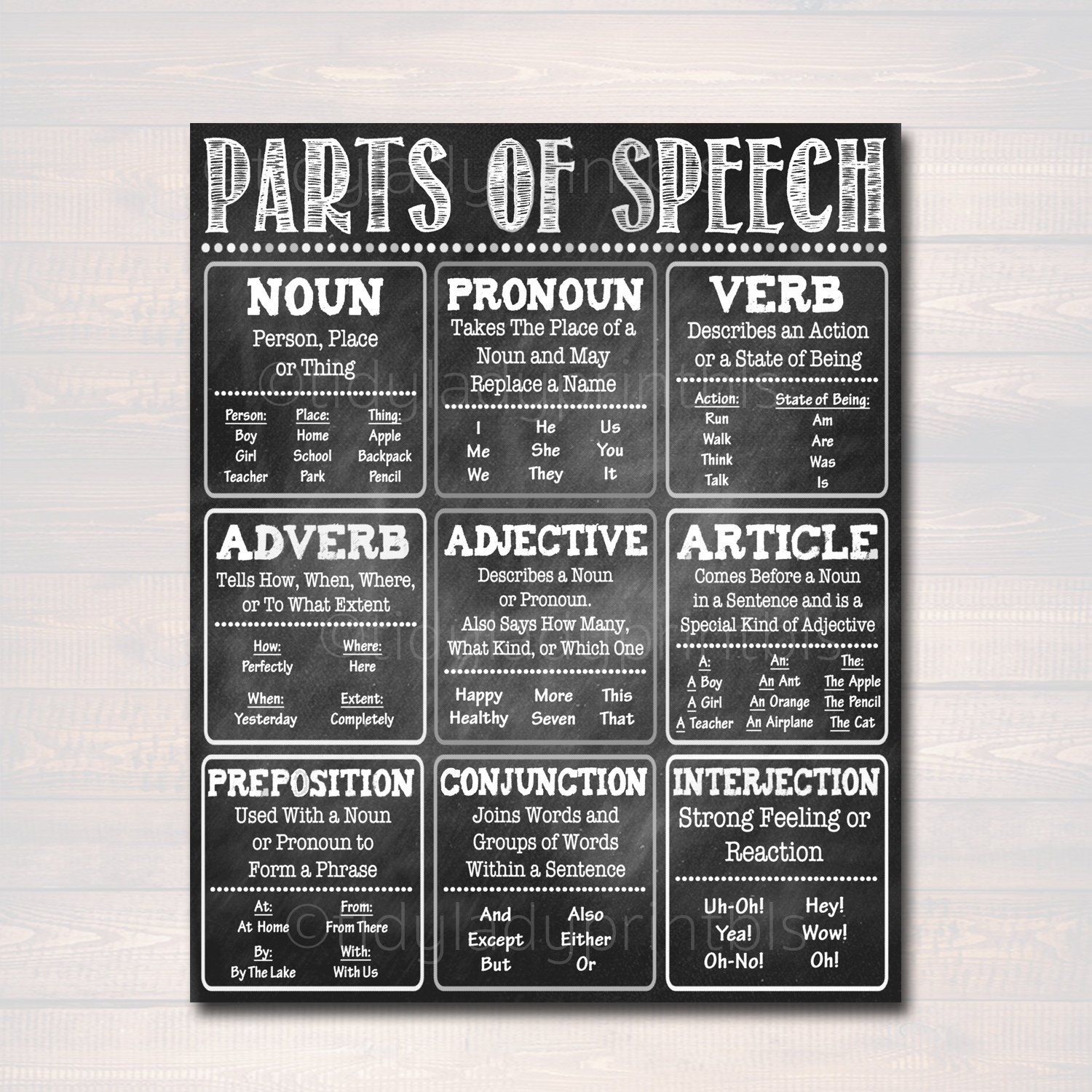 English Grammar Parts of Speech Poster, Classroom Grammar Poster, Teacher Printables Classroom Decor, High School English INSTANT DOWNLOAD is part of Grammar posters, Teacher printable, Parts of speech, English classroom decor, English grammar, High school english -  Prints Of Love will handle the rest! For every order you place, Prints of Love plants a tree in your name  It is their way of creating a net positive environmental impact with each order! They are proud to be an official Reforestation Partner with their friends at One Tree Planted                                                   PLEASE NOTE Files are for PERSONAL USE ONLY  You may not copy, forward, share, sell or distribute the files  Mass production, file sharing and commercial use of these files are strictly prohibited  Copyright 2019 TidyLady Printables  All rights reserved