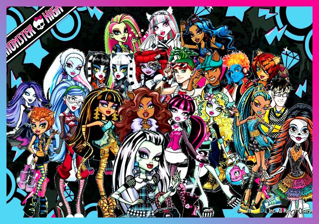 A group picture of all monster high characters i added the missing new character and changed - Monster high wallpaper border ...