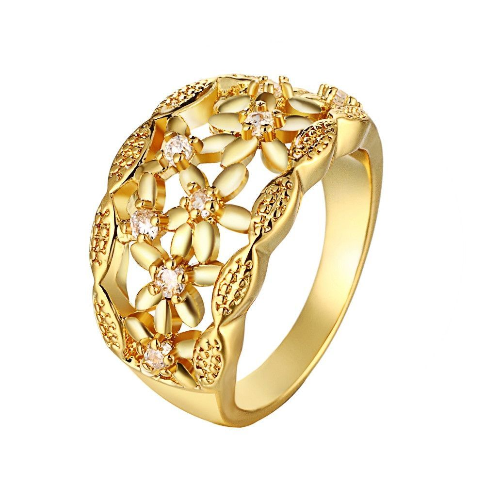Beautiful Engagement Ring Female 18K Gold Plated Jewelry Weddings Flower Rings Imitation Diamond Wholesale Discounts Ulove R108