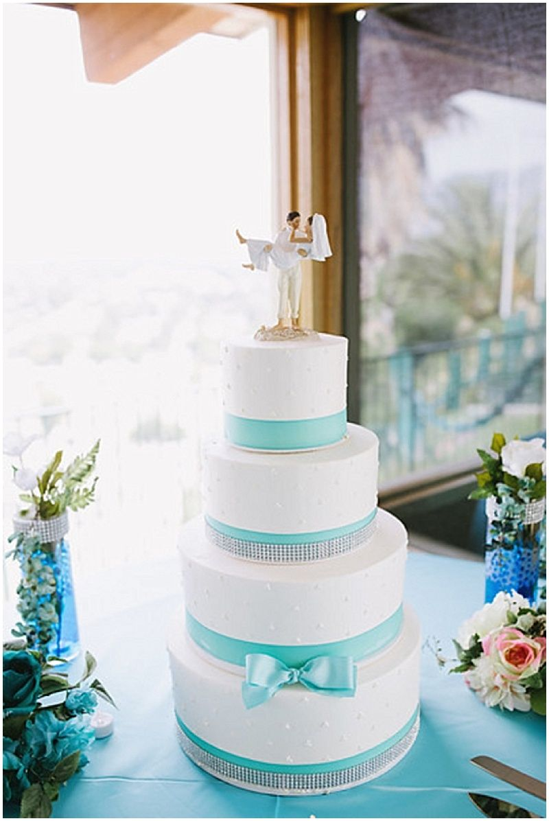 White And Aqua California Wedding