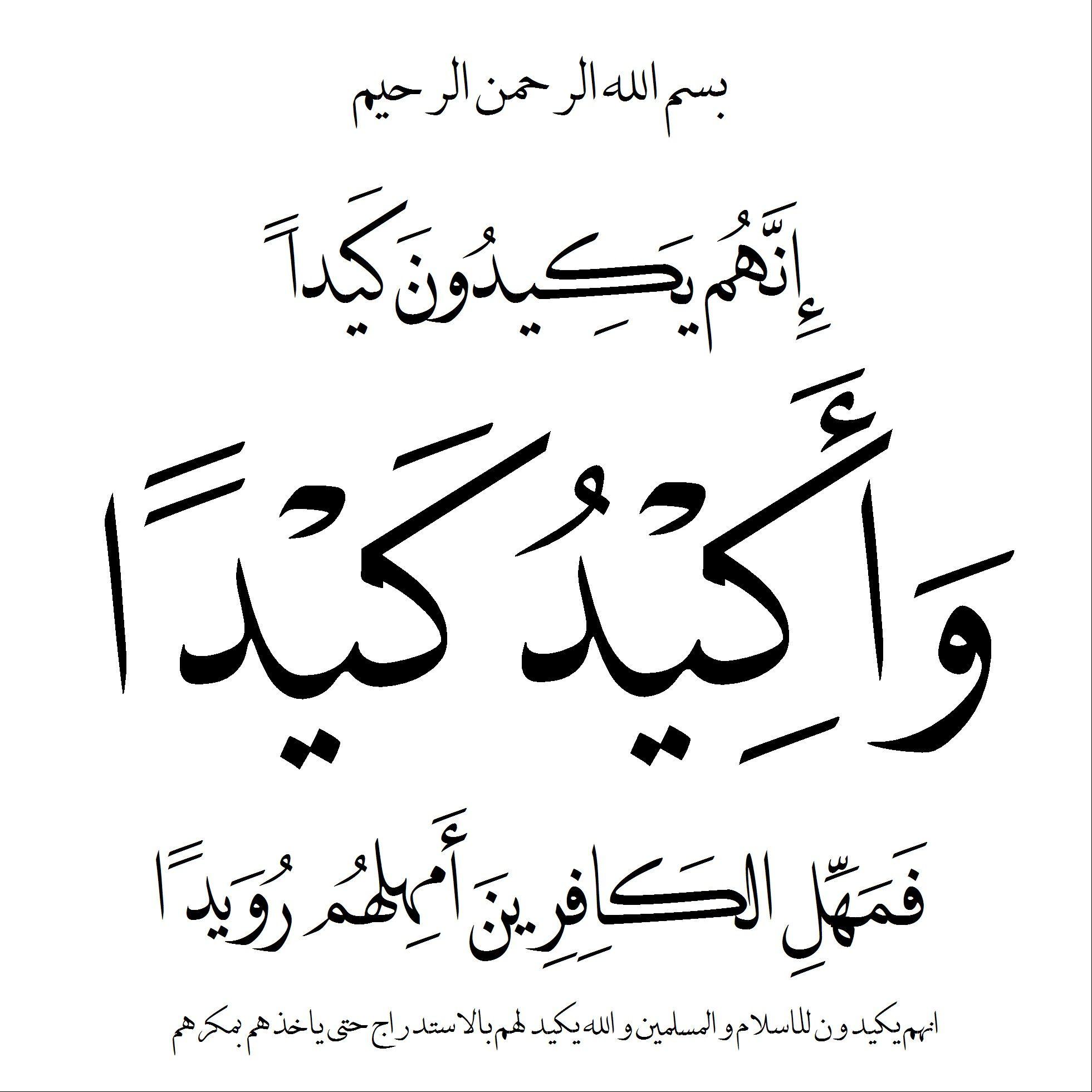 بسم الله الرحمن الرحيم انهم يكيدون كيدا و اكيد كيدا فامهل الكافرين امهلهم رويدا صدق الله العظيم Quran Verses Quran Quotes Quotes
