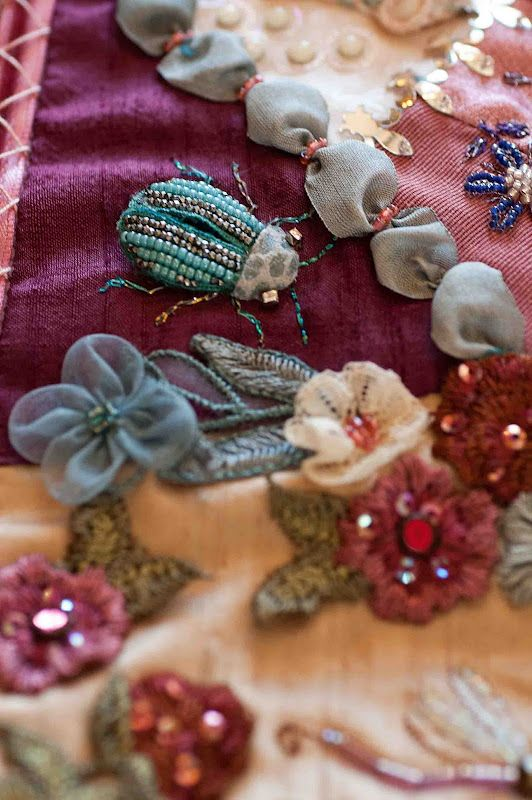 Wonderful beaded beetle on this crazy quilt, by Shirlee Fassell