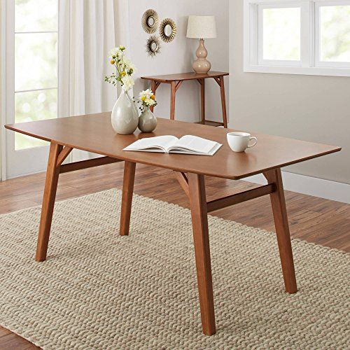 Your New Add Is Modern Dining Table In Pecan Living Room Kitchen Or Furniture Upgrade Home