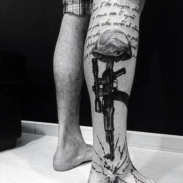 AK 47 Gun Tattoos Designs For Men