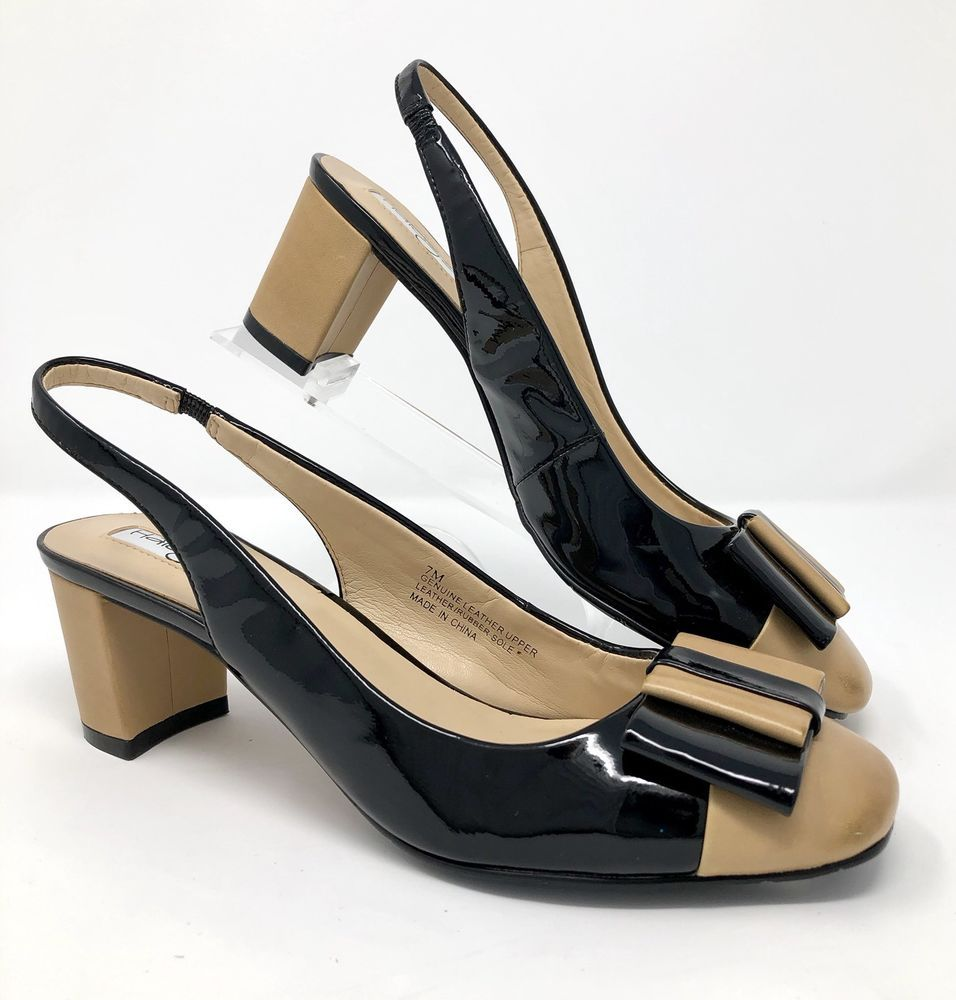 4d43f36d78a HALOGEN Womens Shoes Size 7 M Beige   Black Spectator Slingback Pumps Bow