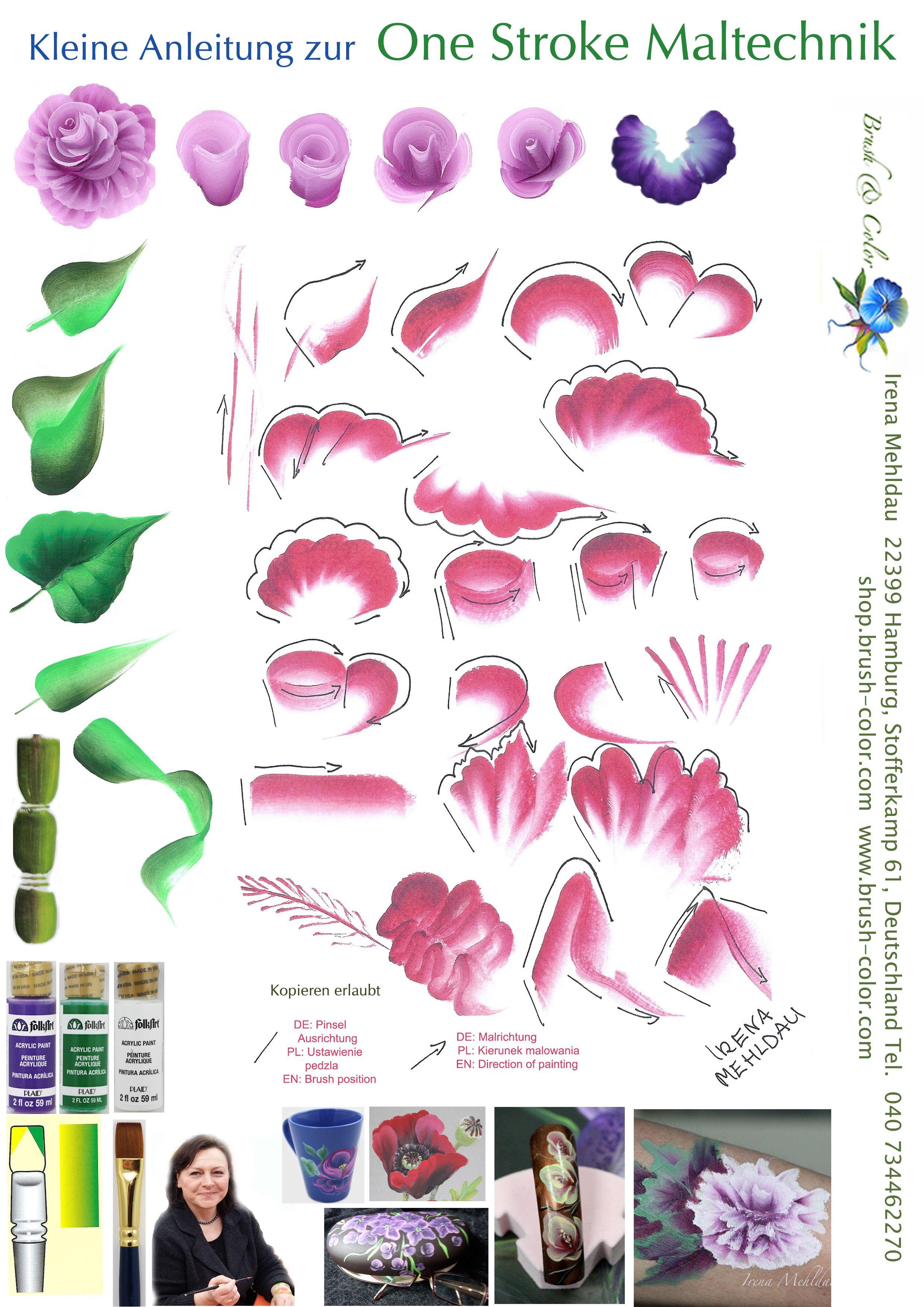 One Stroke Vorlagen Anleitungsbogen Blumenzeichnung Wie Man Blumen Malt Kunstmalerei Blumen