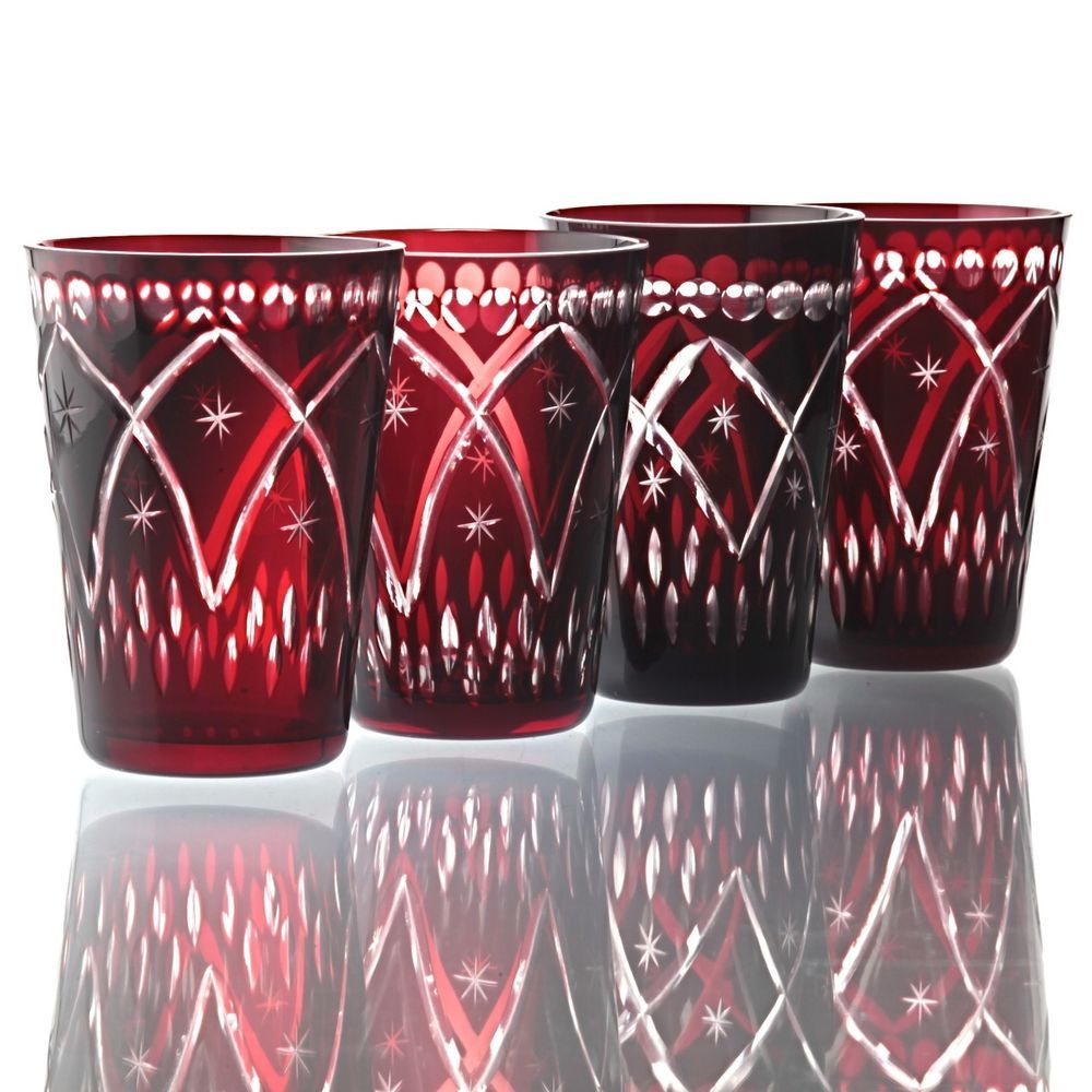 Weingläser Rot 4 vintage rubinglas kristall becher gläser rot weingläser