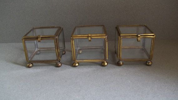 Vintage 3 Brass and Glass Boxes Jewelry Box Curio Box 1960s
