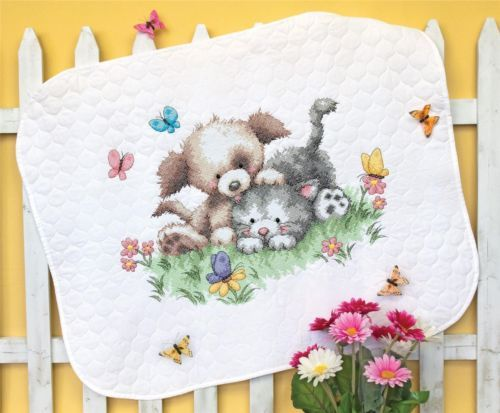 Dimensions Crafts - Pet Friends Baby Quilt Stamped Cross Stitch Kit # 70-73882