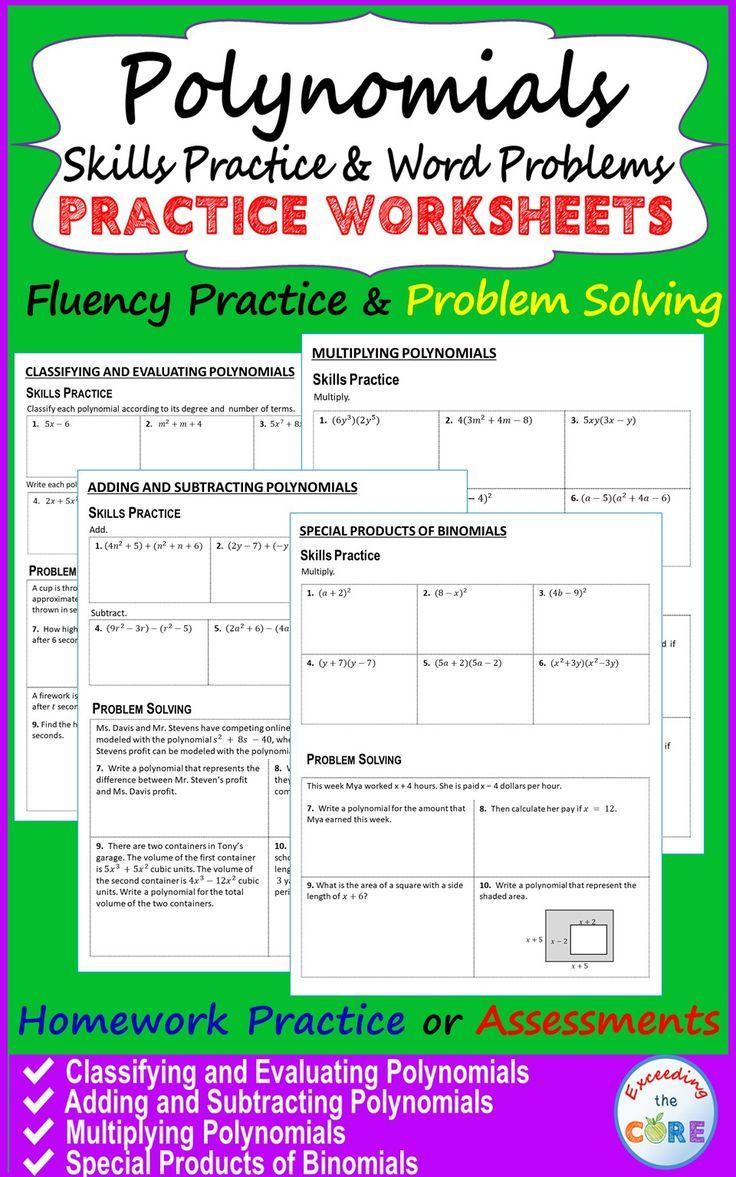 Polynomials Homework Worksheets Skills Practice Word Problems Polynomials Word Problem Worksheets Word Problems