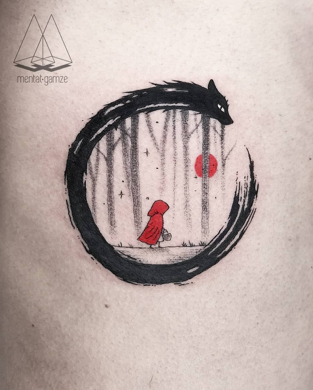 "MENTAT • GAMZE on Instagram: ""Little red riding hood and some hidden symboles for his little daughter 🖤🐺 . . . . #mentatgamze #draw #istanbul #graphictattoo #drawing…"""