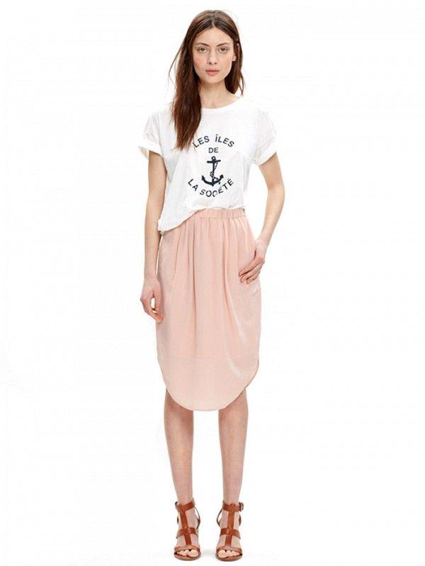Madewell Silk Island Skirt ($98) in Gentle Blush
