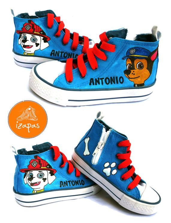 4800bb8d8cc3 Hand Painted Paw Patrol Hi Top Boots by izapas on Etsy