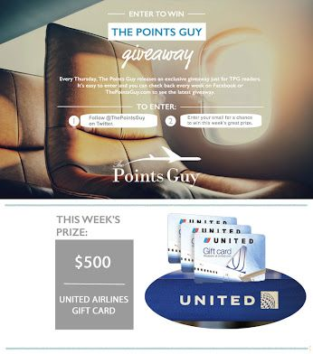 I entered to win a $500 @United gift card from @thepointsguy ...