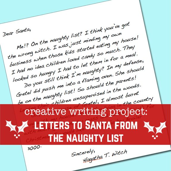 Creative Writing Project  Letters To Santa From The Naughty List