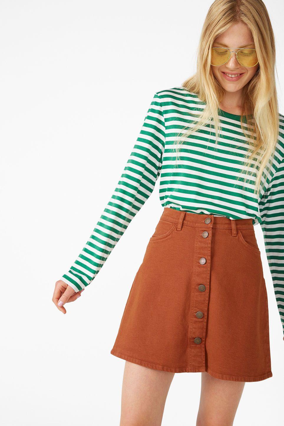 47ce4a68ed Mini A-line denim skirt - Rusty orange - Skirts in 2019 | monki | A ...