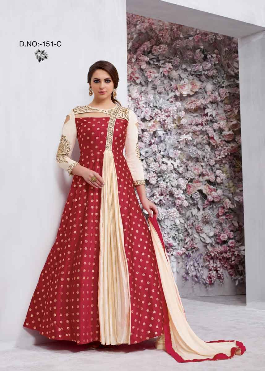 151a1e8e6f9 Add glamour to your ethnicity by adding this Hot Red Color Fancy Neck  Design Taffeta Silk Anarkali Suit to your wardrobe collection.