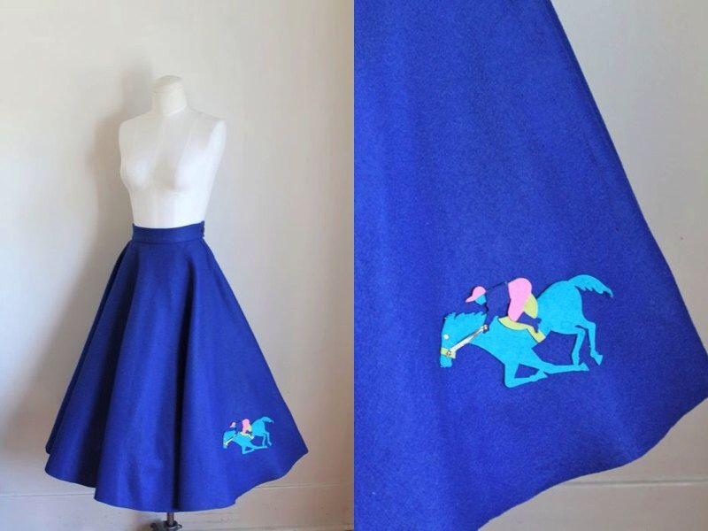 vintage 1950s novelty circle skirt - GALLOPING HORSE blue applique skirt / M by MsTips on Etsy https://www.etsy.com/listing/248524263/vintage-1950s-novelty-circle-skirt