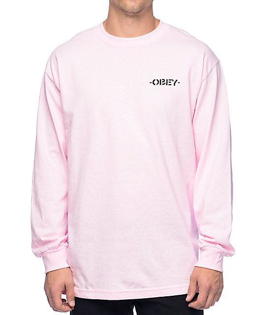 49782e19d Obey Mother Earth Light Pink Long Sleeve T-Shirt in 2019 | Long ...