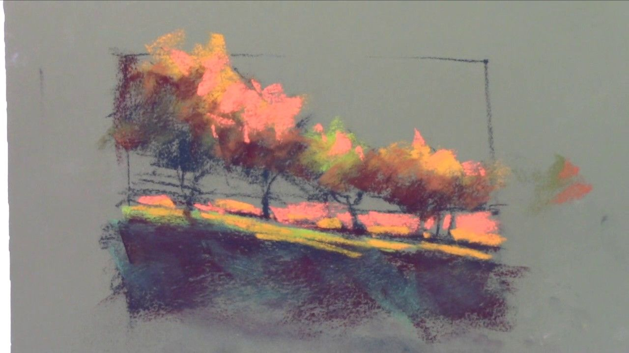 Pastel Painting Warm Grove Youtube Pastel Painting Soft Pastel Art Abstract Canvas Art
