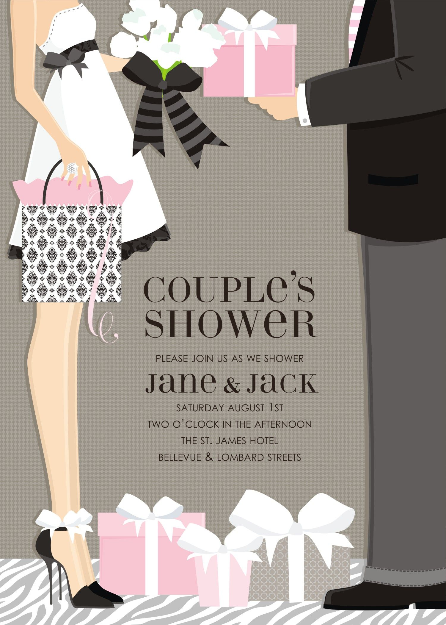 Classic couple bridal shower invitation by doc milo this for Bathroom ideas for couples
