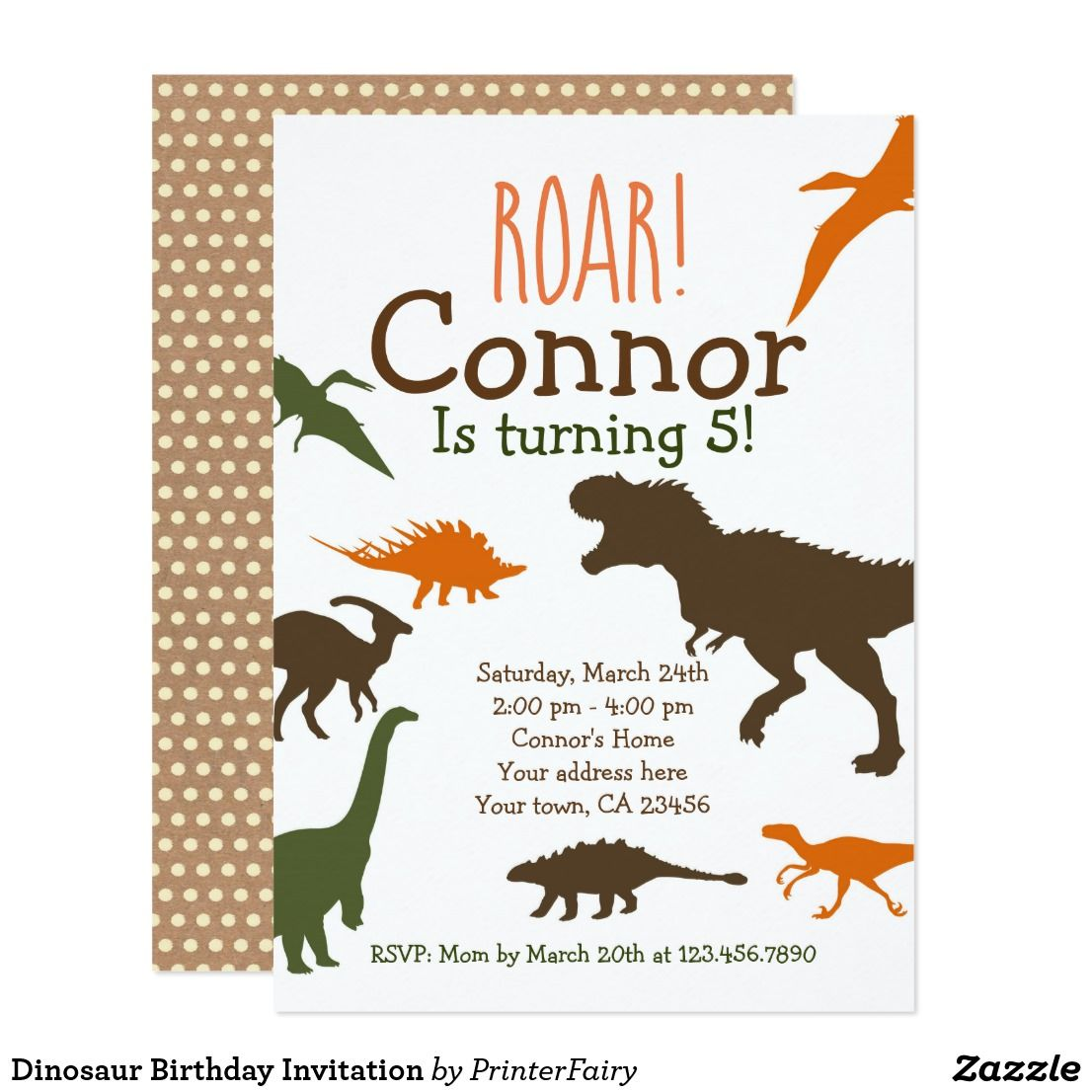 Dinosaur Birthday Invitation Celebrate A Perfect With These Invitations You Can Personalize All The Text To Fit Your Needs