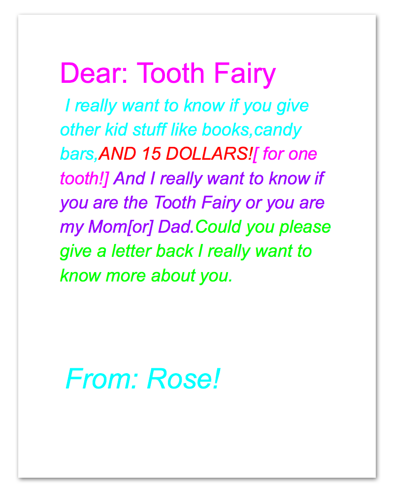A letter from the tooth fairy tooth fairy teeth and fairy for Fairy letters to child