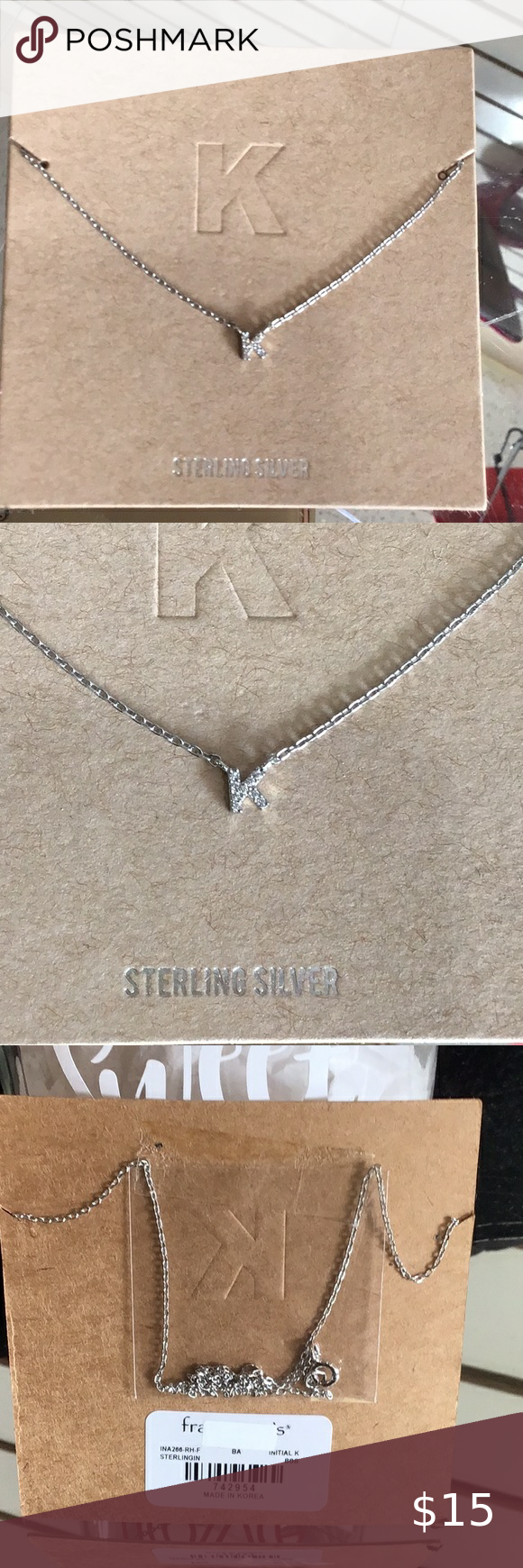 """Photo of Sterling silver dainty letter """"K"""" initial necklace NEW ARRIVALS Initial ster…"""