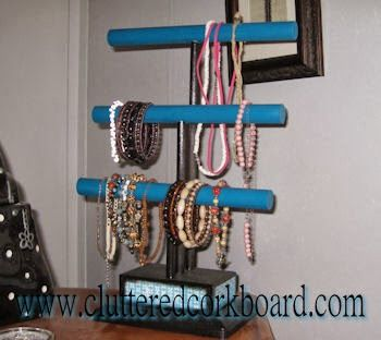 DIY a Jewelry organizer using dowel rods and scrap wood Dee