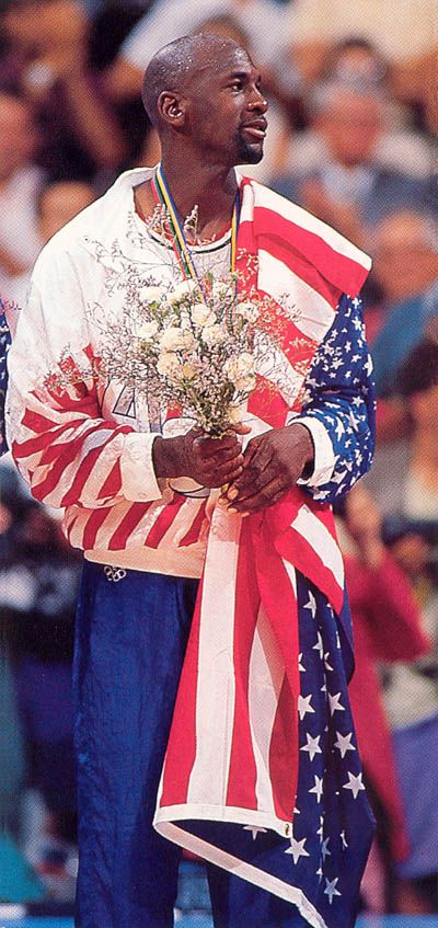 onlythebestnba: 1992 NBA DREAM TEAM USA - Michael Jordan Gold Medal Podium