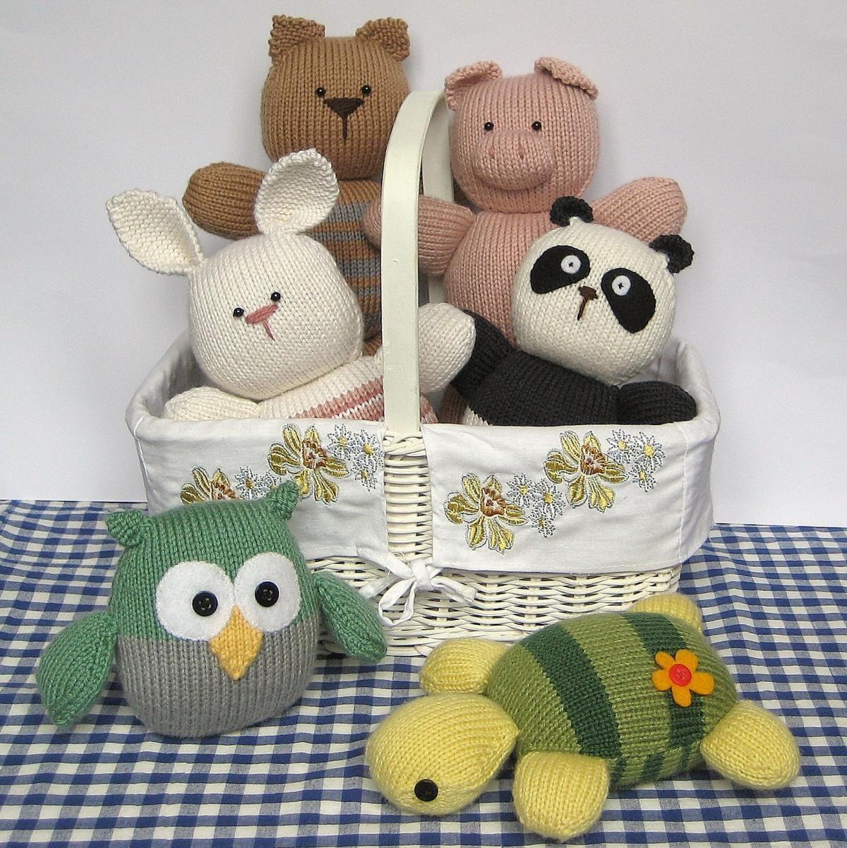 Six toy animal knitting patterns - rabbit, cat, panda, turtle, pig ...
