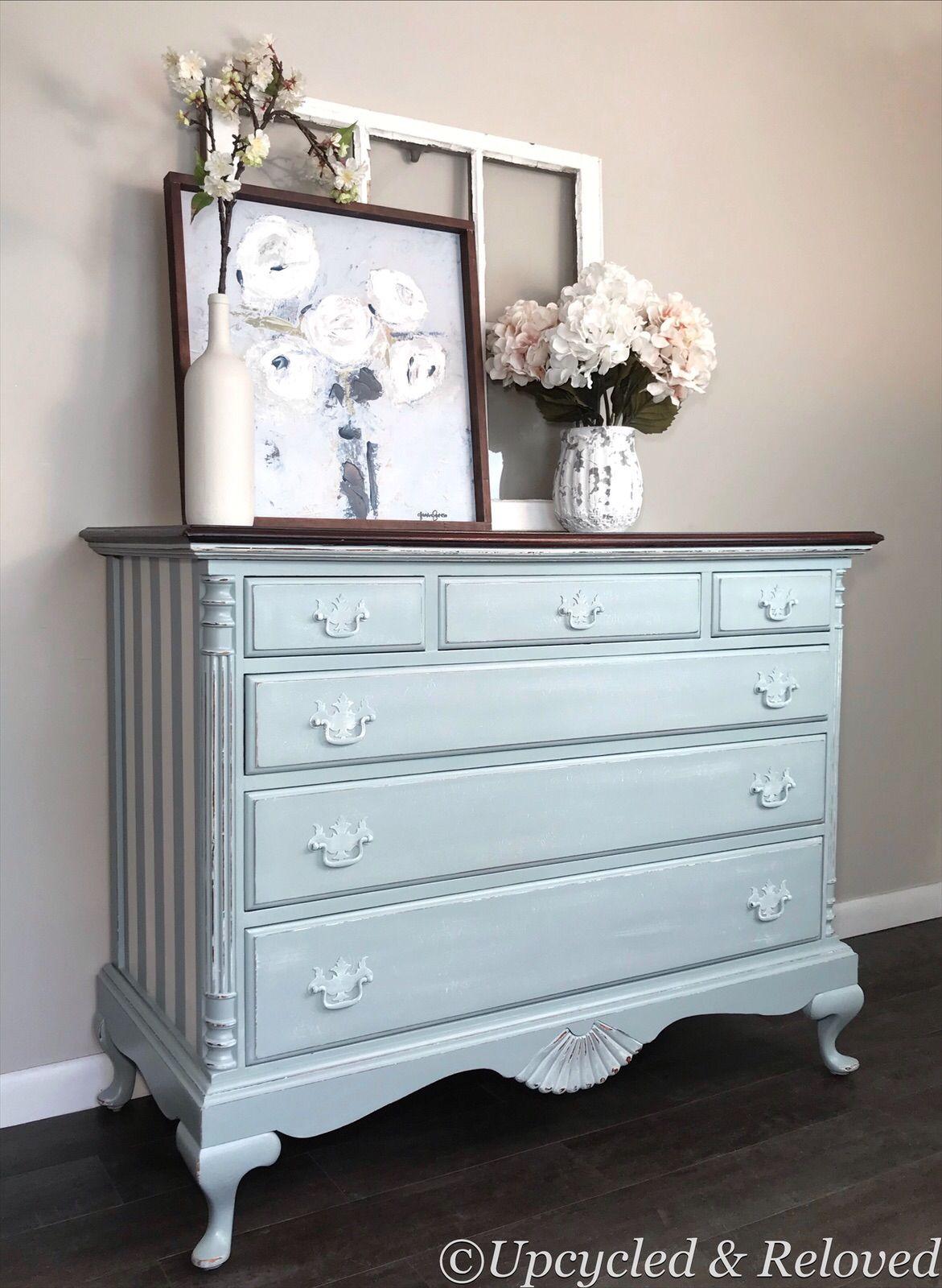 Vintage Queen Anne Dresser Chest Of Drawer Stripped Dresser Striped Furniture Blue Furniture Furniture [ 1600 x 1171 Pixel ]